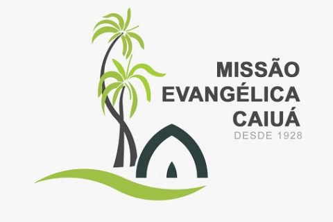 """2 palmeiras e uma tenda em verde e marrom, além de do texto """"MISSÃO EVANGÉLICA CAIUÁ"""""""