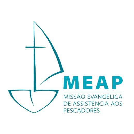 """logo do MEAP feito por um barquinho em azulcom a inscrição """"MEAP - Missão Evangélica de Assistência aos Pescadores"""""""